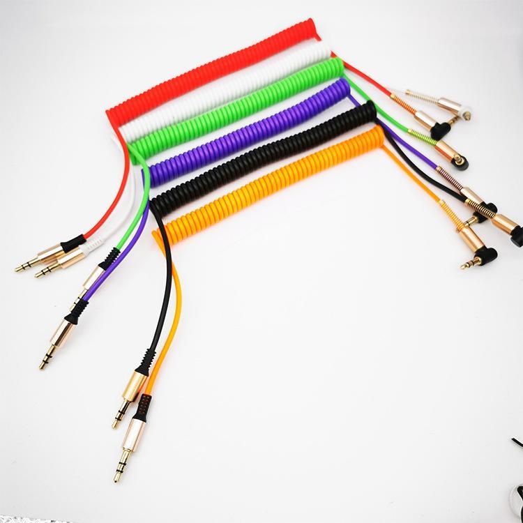 L em forma de cabo colorido de áudio de primavera 3.5mm cabo AUX masculino para alto-falante de carro