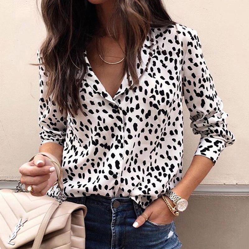 2021 Новая Мода Женщины Длинные Рукава Леопардовая Блузка V-образным вырезом Рубашка Женская Ольтая Вечеринка Верхняя Уличная Одежда Blusas Женский Элегантный Плюс Размер Повседневная EIL6