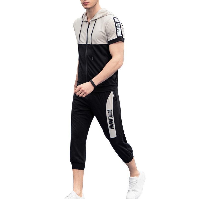 Tuta sportiva estiva da uomo Casual Sporting 2pcs Tracksuits Tute Zipper Contrasto Colore Top Manica corta con cappuccio T-shirt Pantaloni Abbigliamento sportivo