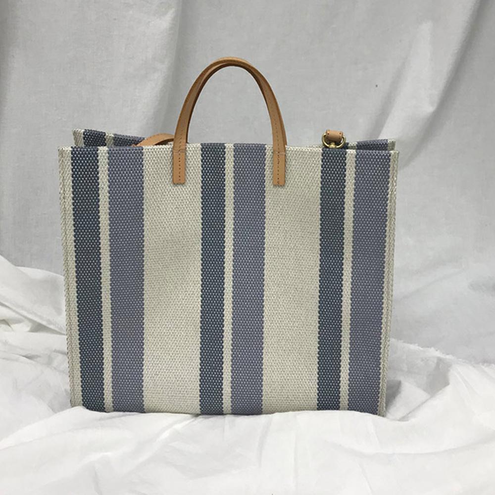 Casual Large Capacity Canvas Tote Women Shoulder Bag Patchwork Striped Linen Handbag Designer Big Shopper Bags for Women 2021 C0308