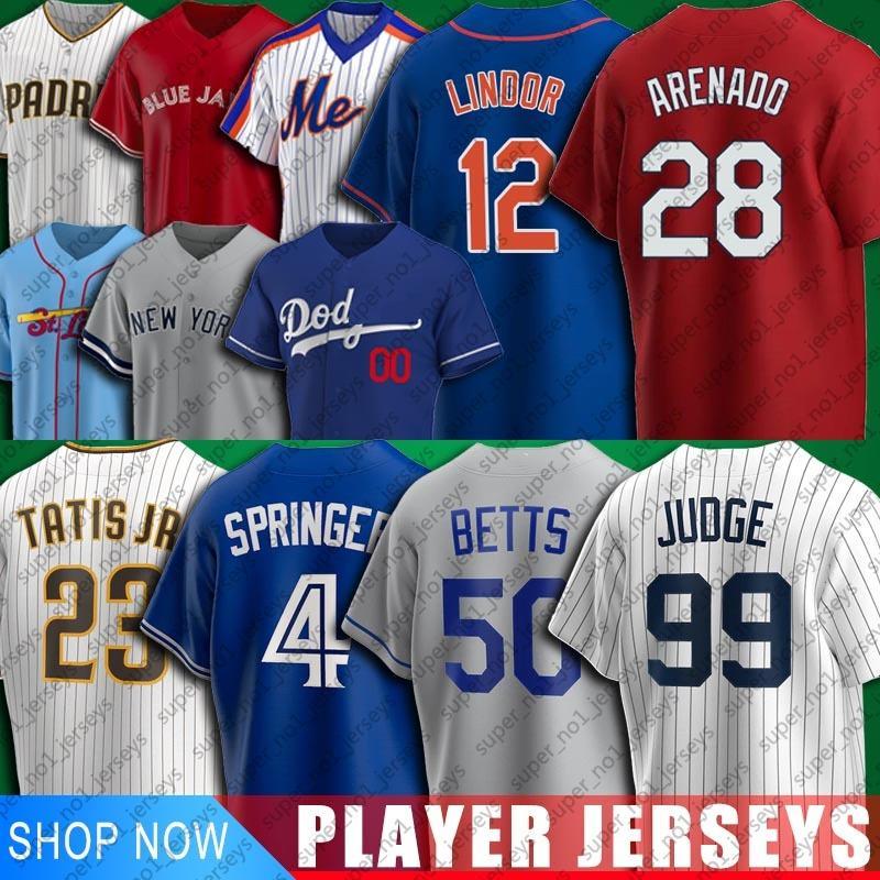 Baseball 28 Nolan Arenado 4 George Springer Jersey 12 Francisco Lindor 50 Mookie Betts Jerseys 99 Aaron Juiz 23 Fernando Tatis Jr Jersey