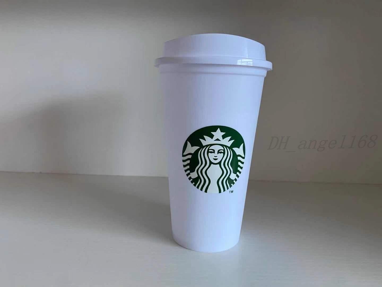 50pcs DHL Free Starbucks 16oz Plastica Tumbler riutilizzabile Bere Bere Bere Piano Piano Tazza Tazza Pilastro Forma Coperchio Paglia Tazza Bordo Bianco