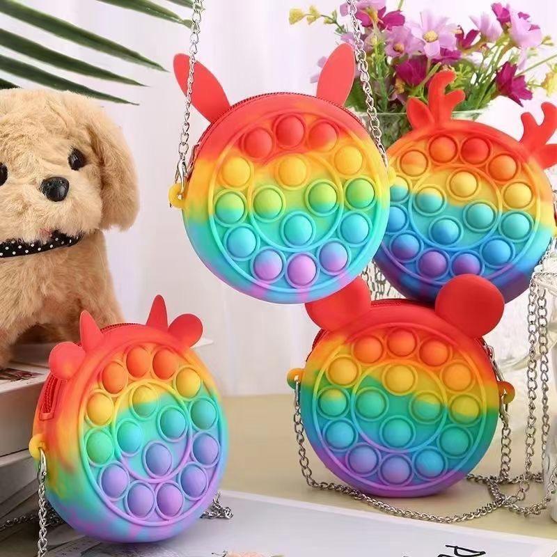 Fidget Toys Jouets Monnaies Porte-monnaie Colorful Push Bubble Sensorial Sensoire Stress Stress Stress Stress Autisme Acheté Anti-stress Rainbow Jouet Adulte Petits sacs pour enfants 4962