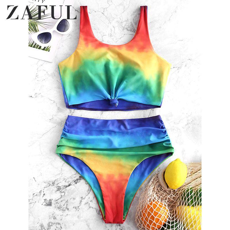 Zaful Original Femenino Sistema de Natación Tie Dye Knot Tankini Tankini Tankini Push Up Traje de baño Aesthetic Bikinis Mujer 210306