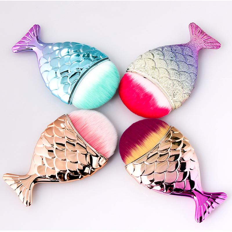 4 Renkler Tırnak Fırça Glitter Toz Tozu Fırçası Çivi Bakımı Mermaid Şekiller Nail Salon için Profesyonel Manikür Araçları