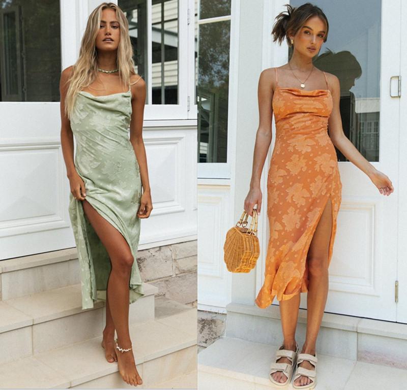 Nuevas mujeres en primavera y verano de 2021 Slim Split Splace Skirt Falda Sexy Collar Collar Abierto Abrir Vestido de noche