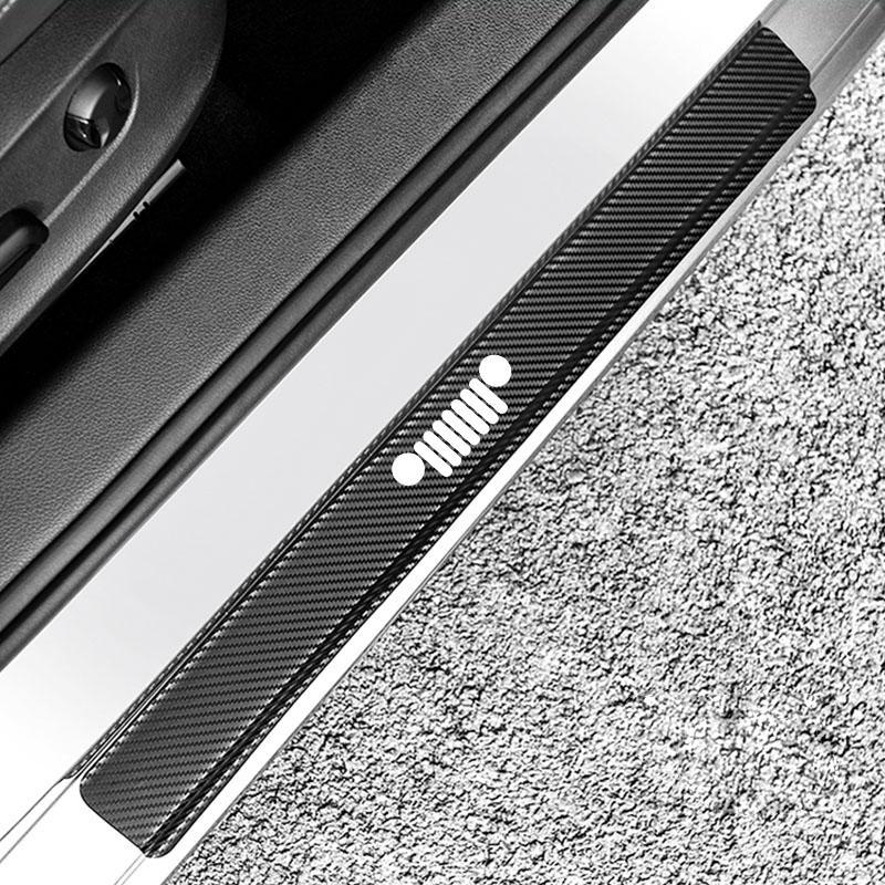 4 шт. Углеродное волокно Автомобильные наклейки для Jeep Wrangler Trailhawk Compass Renegade автомобиль Дверь кромки Edge Полоски Protecte Sticker