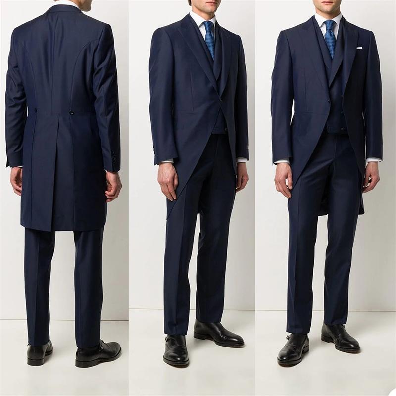 3 шт. Тонкие костюмы для хмоссовки Men Suites Navy Sureume Custom Made Candomed Spring Suits One Button Cotton Forformate Business Coat + Pant + Vest