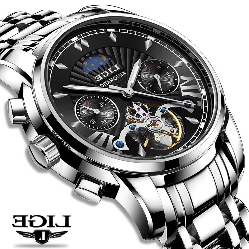 2021 Lige Fashoin Herren Uhren Top Marke Luxus Automatische Mechanische Tourbillon Männer Edelstahl Wasserdichte Armbanduhr