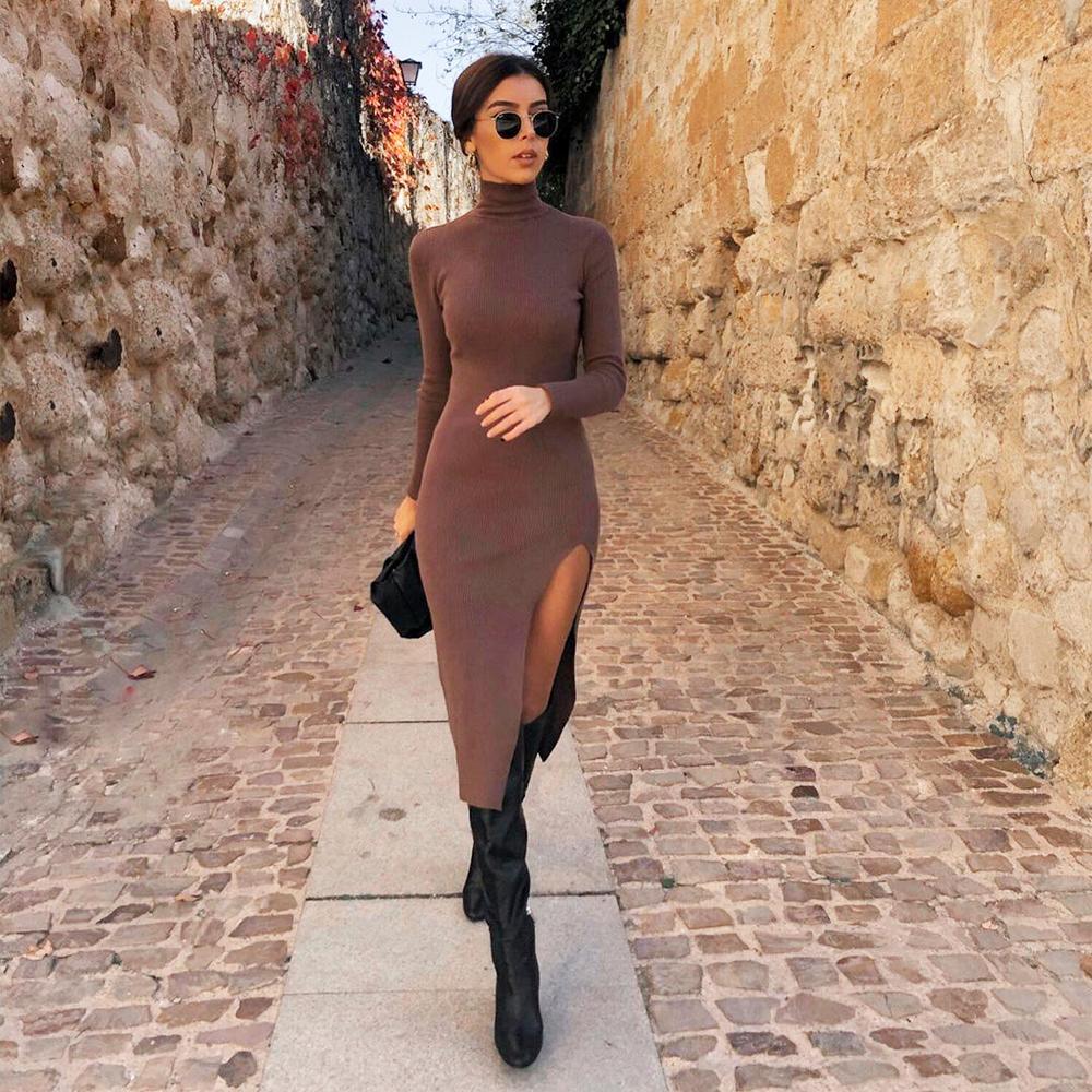 2021 New Women Knit Sweater Dress Long Sleeves High-Neck Elastic Midi Dress Fashion Elegant Chic Lady Long Warm Woman Dresses 210222