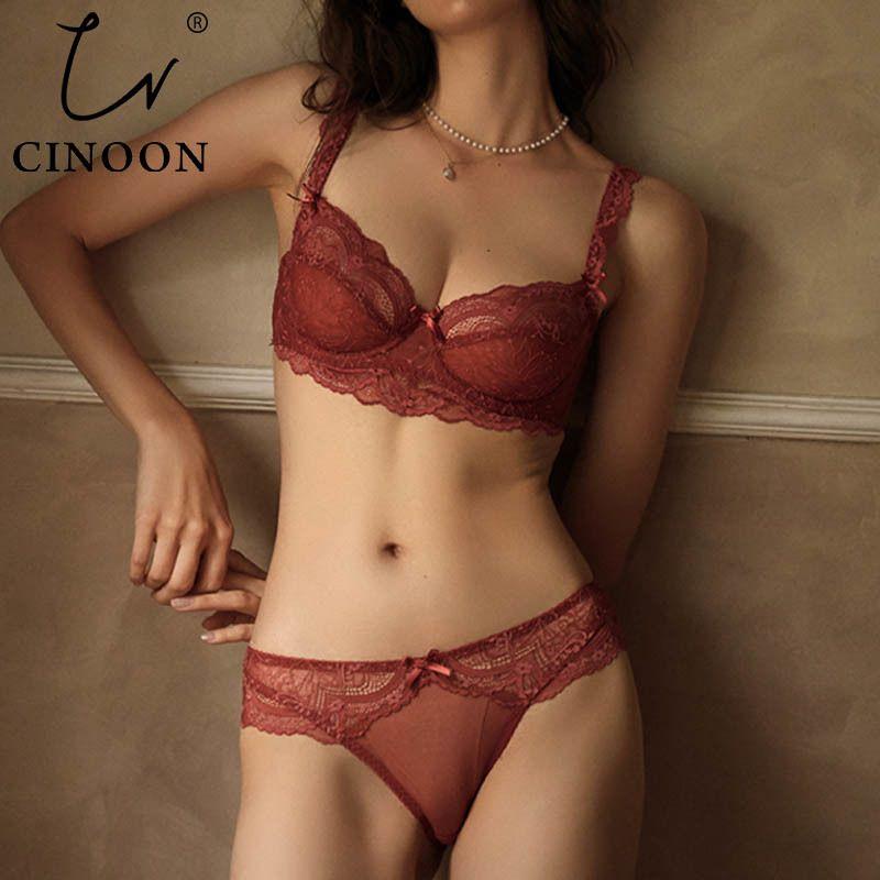 Cinúnculo Novo Plus Size Push Up Bras e Panty Bordado Underwire Lingerie Ultrathin Underwear Set Sexy Lace Bra 210310