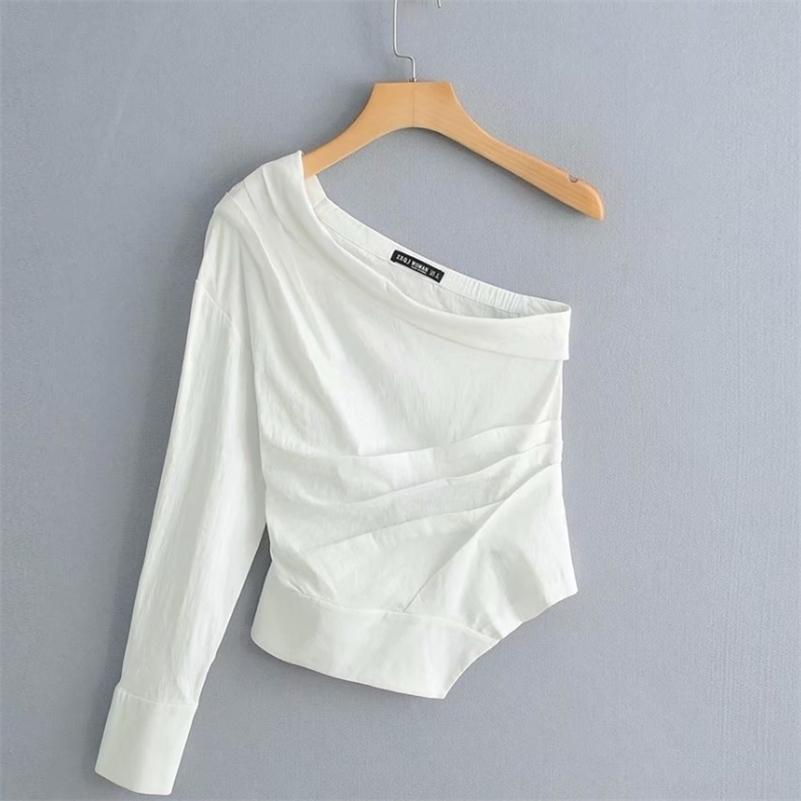 Nuevas mujeres de moda color sólido un hombro camisa plisada blusas mujeres irregular dobladillo blanco roupas femininas camisa camisa LJ200831