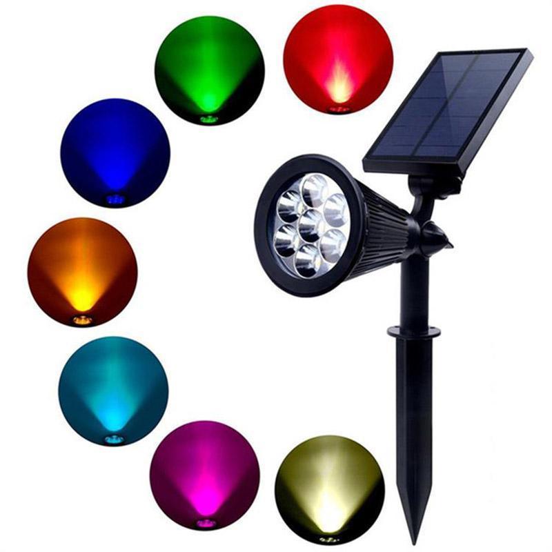 Красочный RGB Изменчатая солнечная 7 Светодиодный прожекторный ландшафт входной дверной двор Водонепроницаемый точечный светильник сад газон наружные лампы освещения