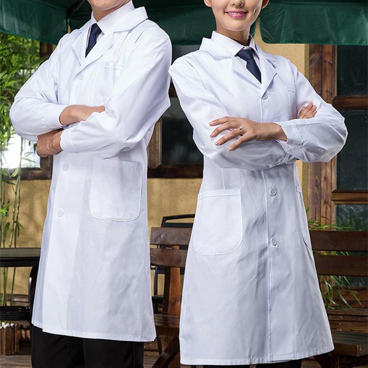 Ücretsiz kargo hastane laboratuvar ceket büyük boy laboratuvar üniformaları beyaz uzun kollu tıbbi giyim ceket doktor hastane bilim adamı okul üniformaları