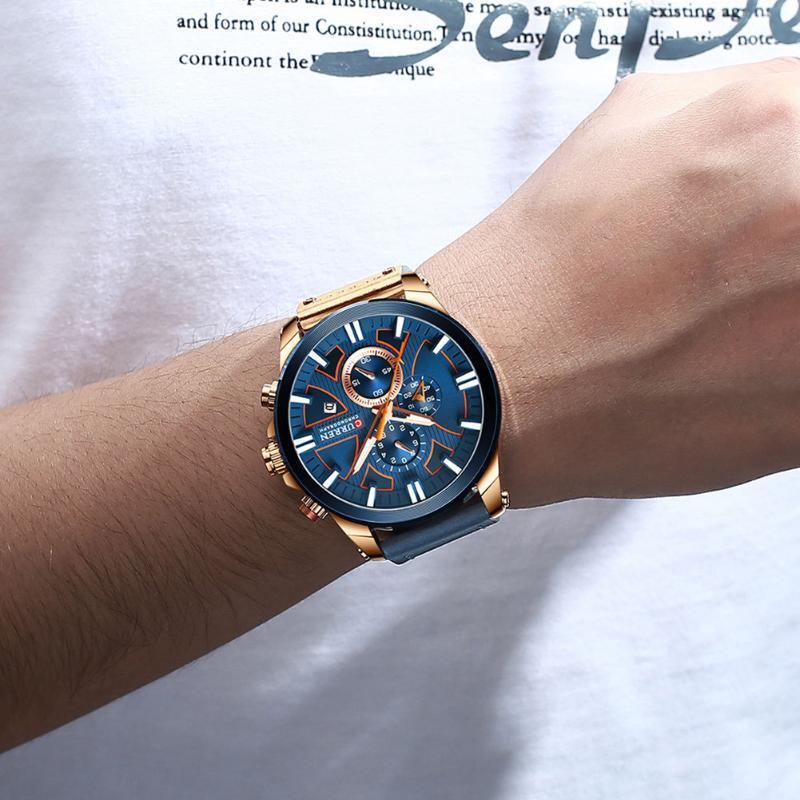 Curren 8346 Hommes Regardez la bracelet à quartz imperméable Montre Multifunction Chronographe Montre-Bracelet Sports NYZ Sports NYZ