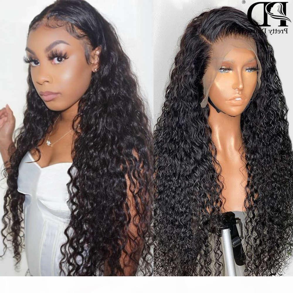 28 30 дюймов 13x4 вьющиеся фронт человеческие волосы глубокий фронтальный парик предварительно сорванные 360 кружевные парики для чернокожих женщин REMY