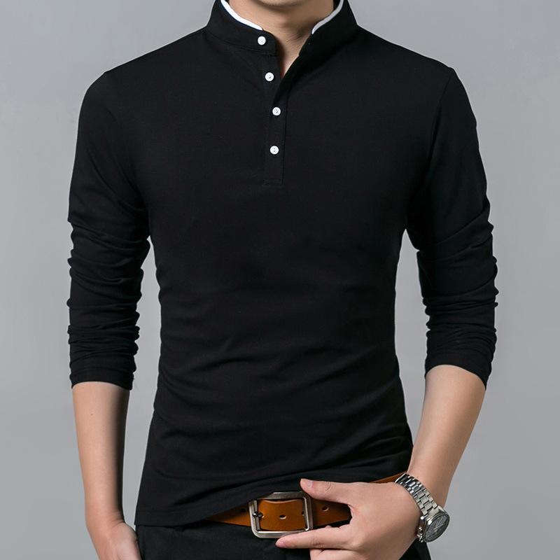 Pamuk T Gömlek Erkekler Katı Yaka Uzun Kollu Gömlek Moda Katı Tops Tees Mens Slim Fit Artı Boyutu M-5XL