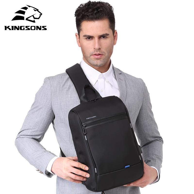 Kingsons 13'' Chest Bag Black Single Shoulder Bags With USB Charging Waterproof Nylon Crossbody Bags Messenger Bags Hot-selling C0224