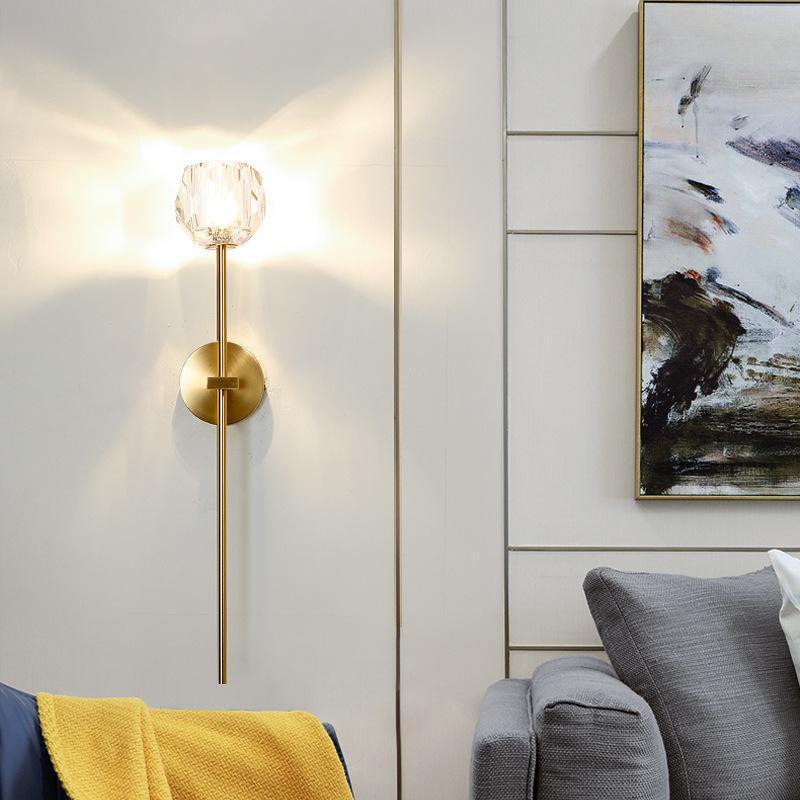 Nordic Post-Modern Wandleuchte Wohnzimmer Kristall TV Hintergrund Wandleuchte Einfache Gang Schlafzimmer Nachtbeleuchtung