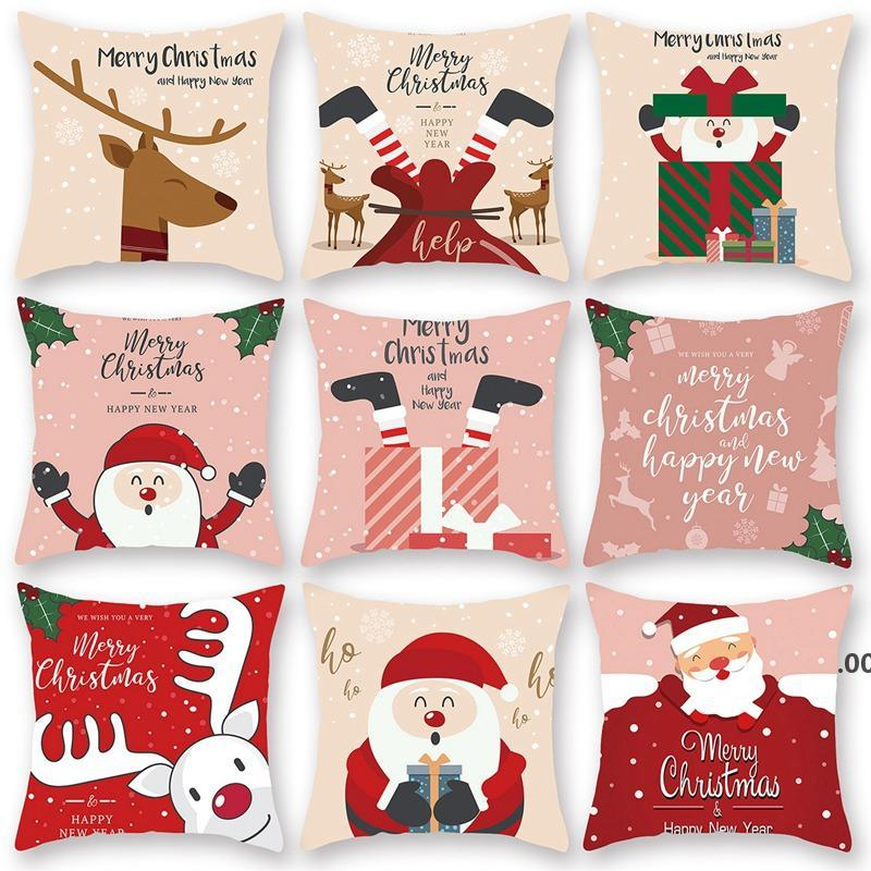 عيد ميلاد سعيد غطاء وسادة سانتا كلوز الأيائل عيد الميلاد الديكور للمنزل 2021 عيد الميلاد الحلي ناتال نافيداد السنة الجديدة ZZF9066