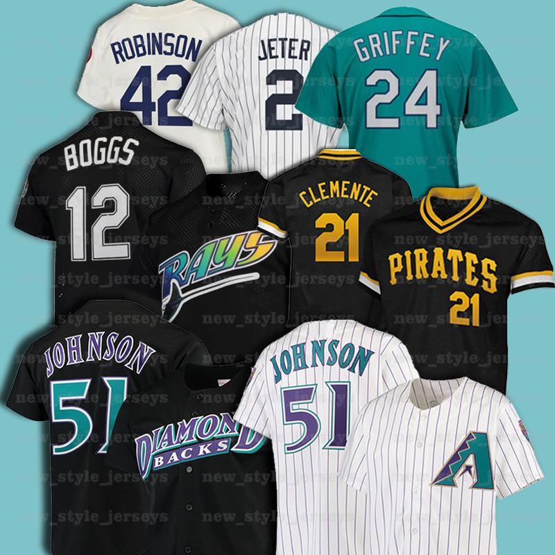 21 Roberto Clemente 51 Randy Johnson 42 Jackie Robinson 12 Wade Boggs Rétro Men Mitchell Ness Baseball Jersey Z13