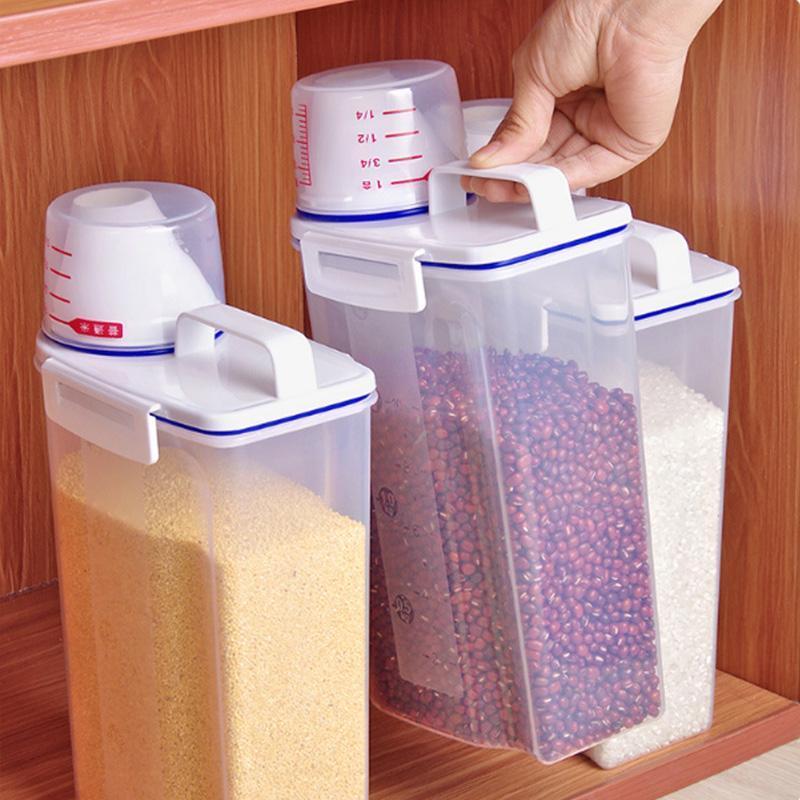 Bouteilles de stockage Bottes Scellé Réservoir à l'humidité Riz Riz Cylindre de riz Farine Cuisine Cuisine Épaissie En plastique Personne-pression