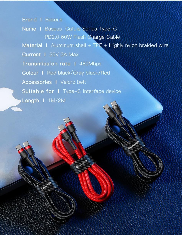 BASEUS 60W USB 형 C 빠른 충전 케이블 Xiaomi에 대 한 삼성 QC3.0 플래시 충전기 코드 휴대 전화 노트북 케이블