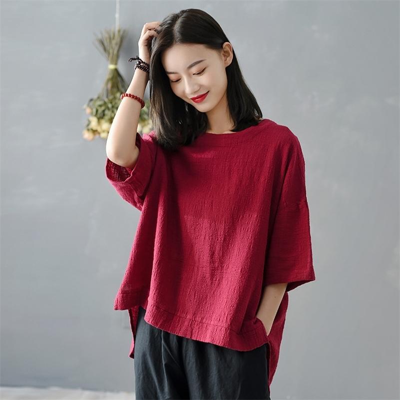 Johnature mulheres vintage algodão t - shirts cor sólida irregular novo verão o-pescoço manga curta mulheres irregulares t - shirts 210317
