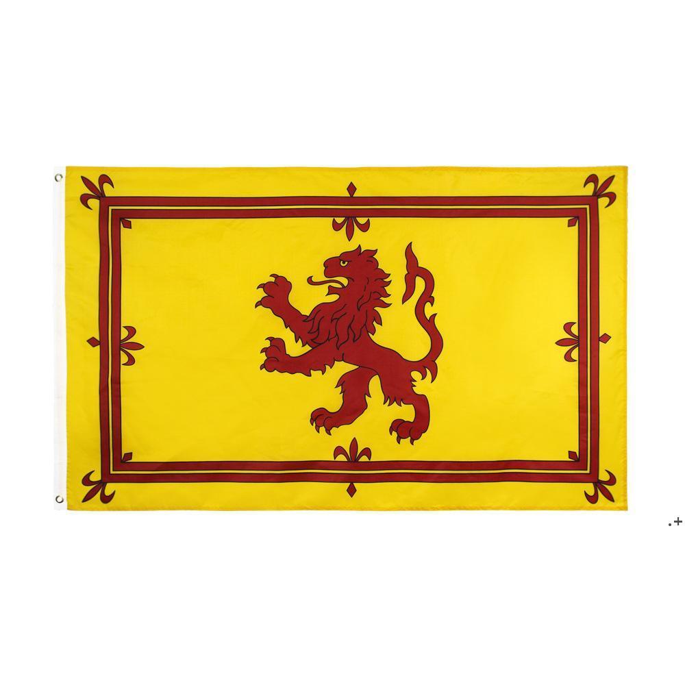 Royal Scottish Lion Flag 90x150cm جودة عالية بالجملة البوليستر الطباعة أعلام اسكتلندا تحلق معلقة مع اثنين من الحلقات NHD8398