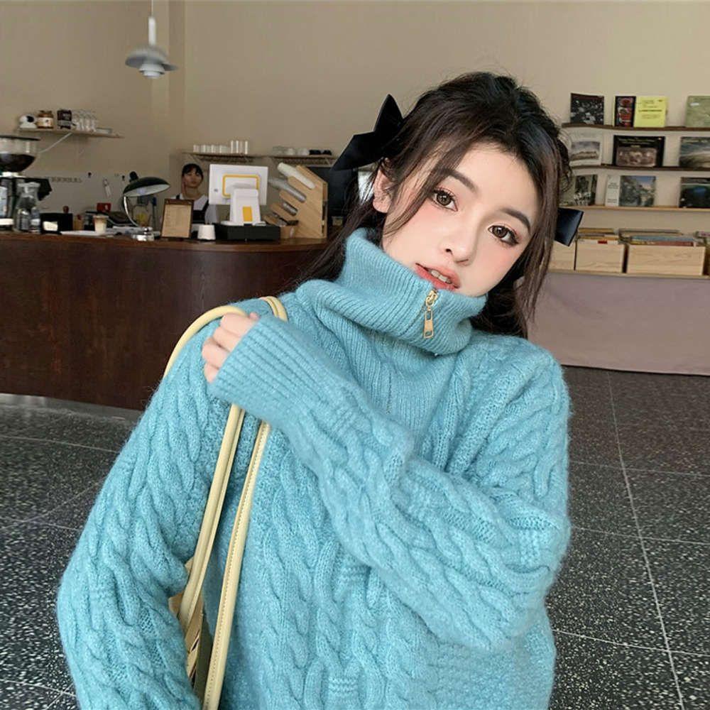Automne et hiver lâche usure de vent paresseux 2020 neuf coréen épaissi à col haut col haut-glace pull