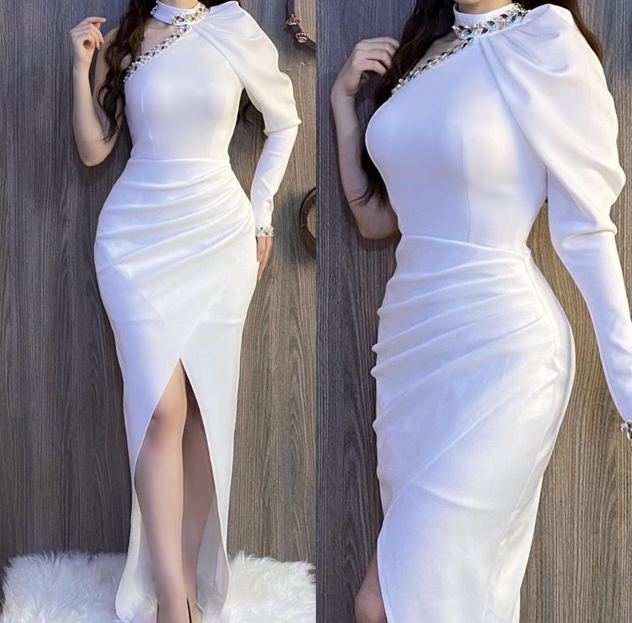 Elegant Dubai Arabic Middle Burgundy East Evening Dresses Party Gowns Prom Dress Long Sleeve Beads One Shoulder High Side Split Formal Gowns