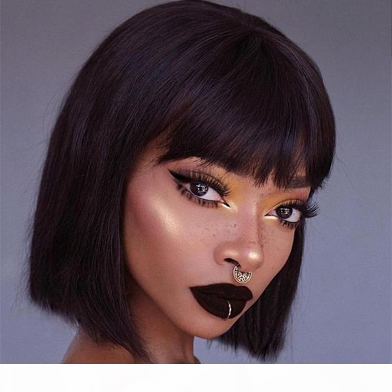 Short Bob Lace Front Human Human Wigs com Bangs Brasileira Reta Bob Rendas Perucas dianteiras pré-arranhadas para mulheres negras 13x6 perucas