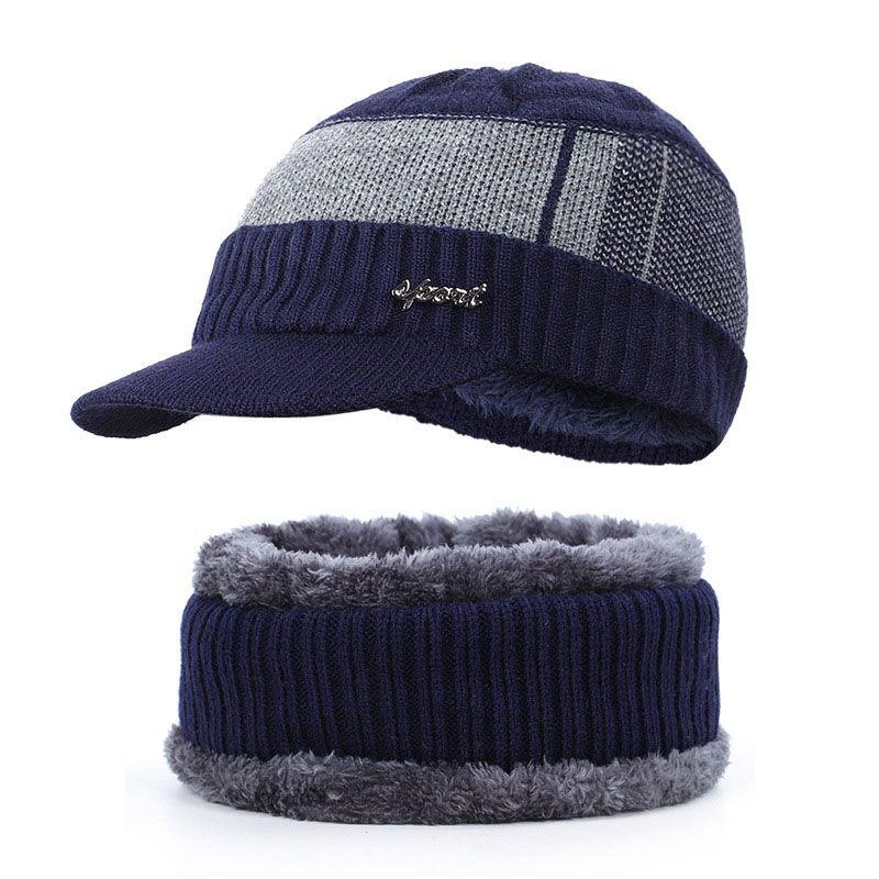 New High Quality Winter Mens Warm Knit Beanie Thick Lining Plus Velvet Casual Visor Hat Male Cotton Soft Cap Skullies Bonnet