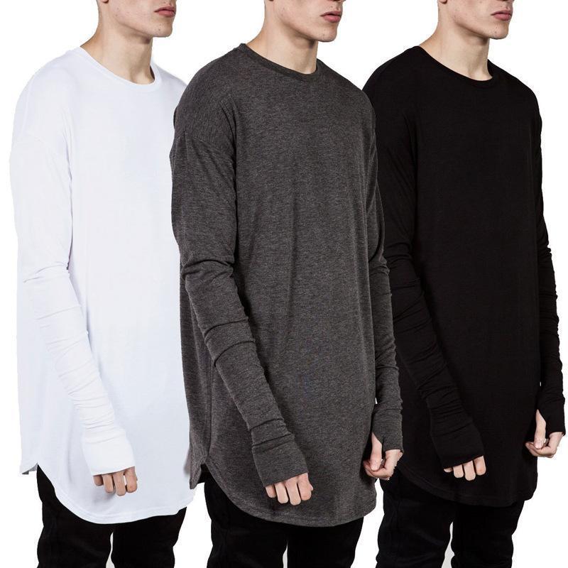남성용 T 셔츠 2021 패션 힙합 긴 소매 찢어진 커프 소매 남자 티셔츠 높은 거리 캐주얼 티셔츠