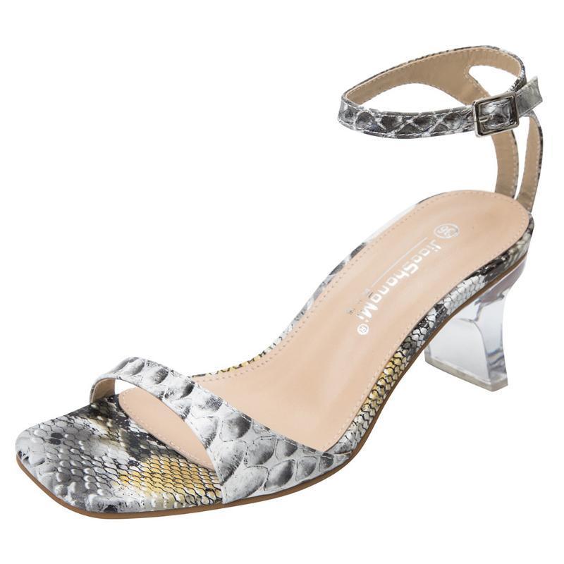 Сандалии Sagace Женщины Летний Высокий каблук Толстая Змея Печать Женская Обувь Сексуальная Мода Дизайн Банкетные Самки