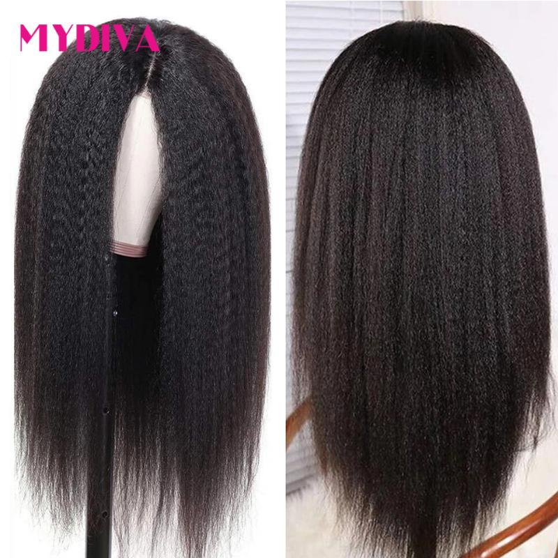 Brazilian Kinky Straight Human Hair Wigs Remy Lace Wig Pre Plucked With Baby Hair Glueless 13x4 Lace Front Wigs 150% 10-30 Inch