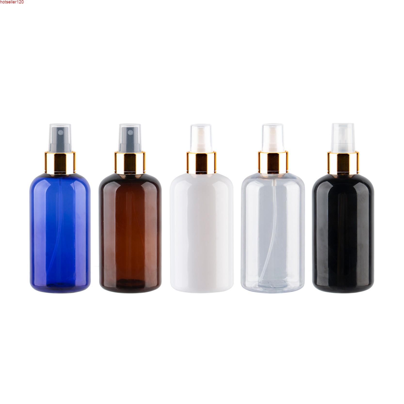 250ml x 12 Altın Alüminyum Sprey Pompası Şişeleri Şeffaf Mavi Kahverengi Sıvı Sabun Mist Püskürtücü Parfüm Için Bottlehigh Quatiy