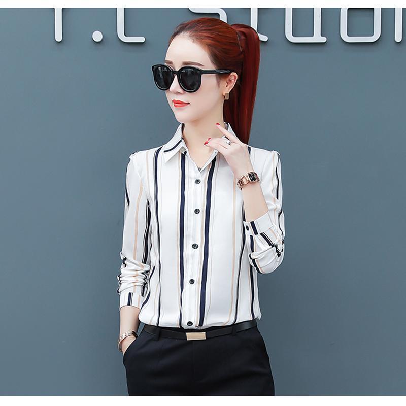 Frauen Blusen Hemden Mode Frauen Tops und Chiffon Casual Langarm Streifen Bluse Elegantes Hemd 2021 ok859