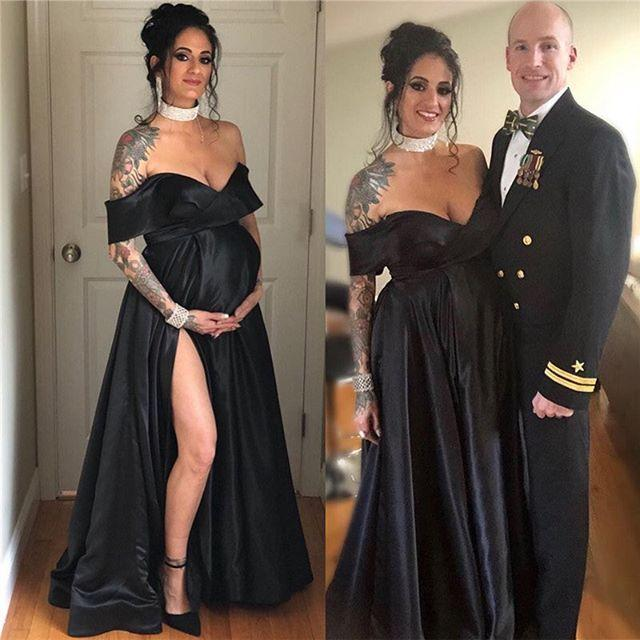 2021 Sexy Black Maternity Evening Dresses Off The Shoulder Empire Formal Prom Gowns A Line Split Front Empire Satin Party Guest Dress
