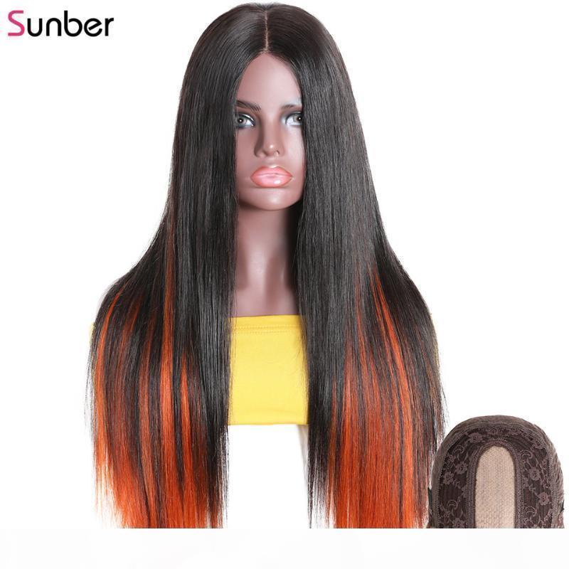 SUNBER HIDDEN Highlights прямой PU Silk базовый парик 150% плотность длинный Omber Orange без клея бразильский парик человека