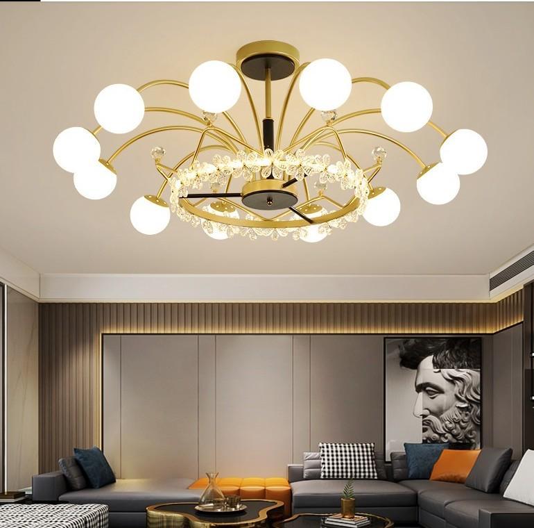 LED golden luxury living room chandelier lighting Nordic modern minimalist lighting bedroom dining room glass crystal chandelier
