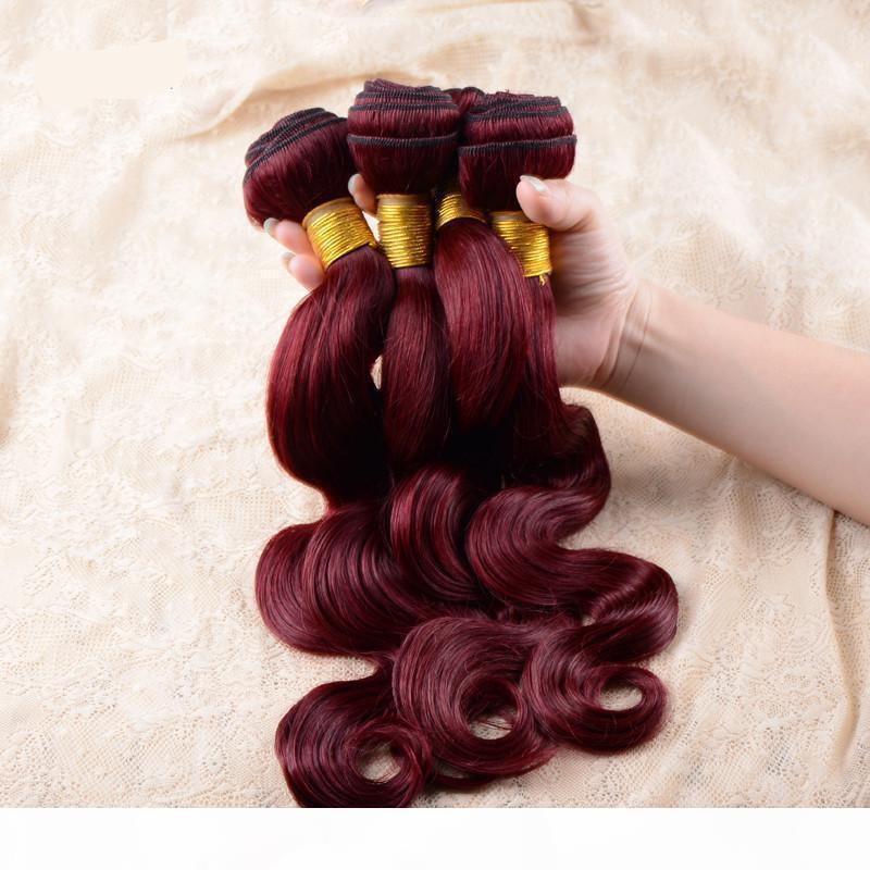 Необработанные 7А 7А Бразильские Девушки Красное вино Бургундия 99J Цветная Волна Кузов Человеческие Волосы Weaves 4PCS На Лот Бесплатная Доставка