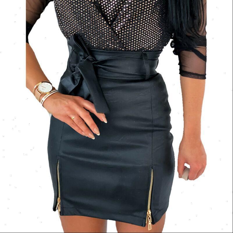 Faldas de las mujeres PU Cuero Lápiz Falda Verano Sexy Negro Bodycon Alto Cintura Mini Fondos Bowknot Zipper Solid Slim Short Vestidos Cortes