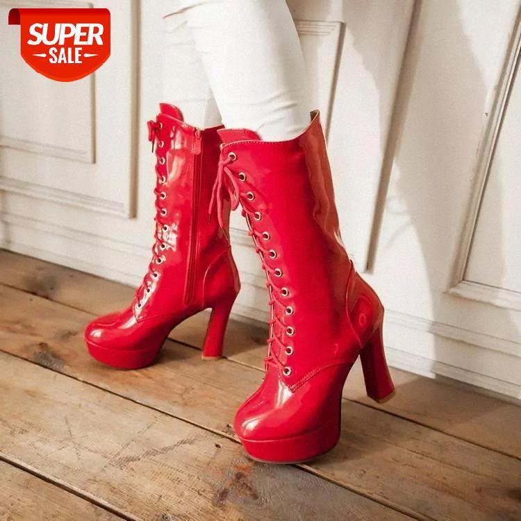 Autunno inverno newthick tacchi alti tacchi impermeabili piattaforma casual anteriore pizzo stivali da equitazione in vernice bianca vernice di grandi dimensioni scarpe da donna # 466l