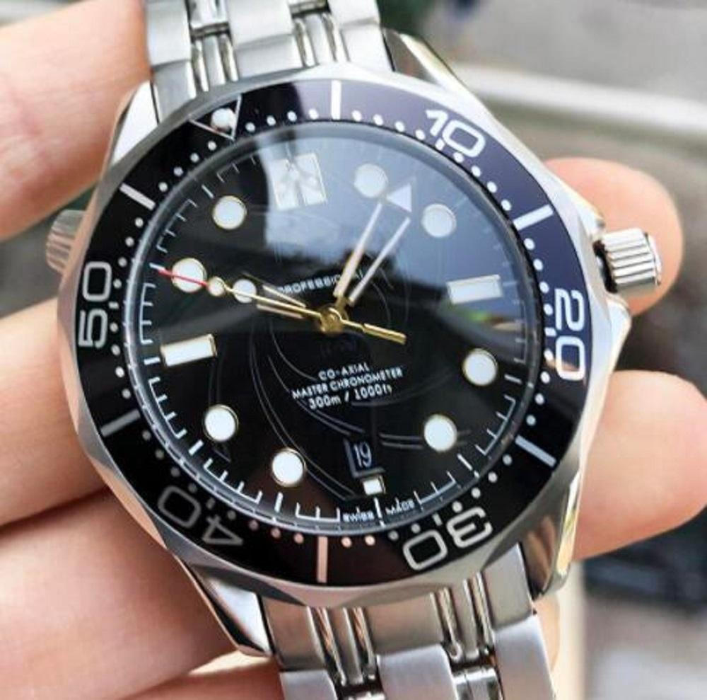 300 м роскошных модных часов Джеймс Бонд 007 Нержавеющая сталь Мужская Дизайнер Алмазный Мастер Теги Часы Наручные часы