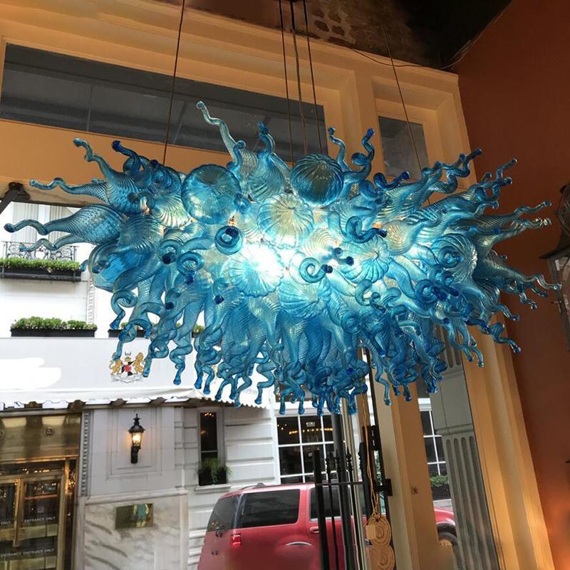 Lampes de suspension bleue Lampe de concepteur Lampe LED Lumière 100% soufflé à la main Verre de verre Lustre Éclairage Cuisine Salle à manger Lustre Landeliers Lights
