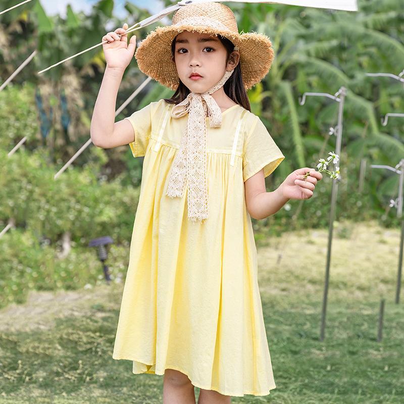 Mädchen Kleider deinsaison 6 bis 14 Jahre Kinder und Teenager Mädchen Sommer Frühling Koreanische Stil Casual Kleid Mädchen Solide Mode Kleidung