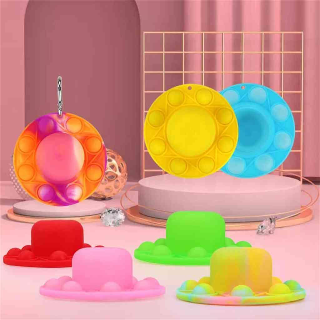 Sombrero gorras forma fidget push palps burbuja popper rompecabezas juguetes sensorial silicona llavero pantano chicas dedo rompecabezas llavero kids navidad regalo de halloween 2021 l8055n