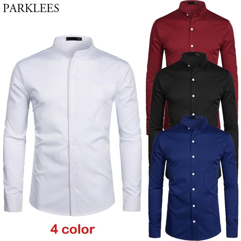 Branco Colarinho Colares Camisa Dos Homens Slim Fit Manga Longa Botão Casual Camisas Para Business Business Work Chemise Home S-2XL 210310
