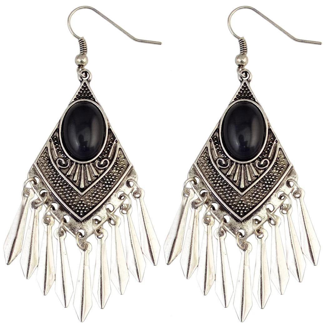 Dangle Chandelier Bohemian Drops Earrings Gemstone Alloy Tassels Geometry Drop Earring For Women - 01